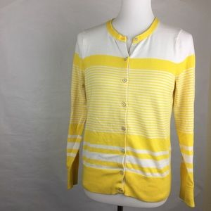 Lands End Striped Yellow Cardigan